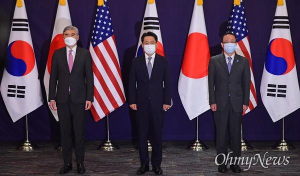 한미일 북핵수석대표가 오는 16일부터 19일까지 미국 워싱턴에서 협의를 갖는다. 사진은 지난 6월 서울에서 열린 한미일 북핵수석대표 협의 장면.