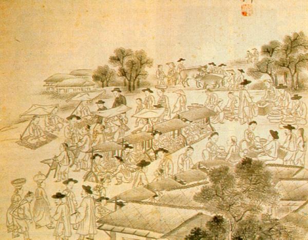 조선 후기 시전 풍경 다양한 시전들이 몰려있던 운종가의 모습