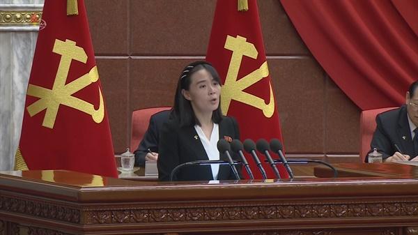 김여정 노동당 부부장이 지난 1일 한미연합훈련 취소를 요구했다. 사진은 북한 노동당 제8기 제2차 정치국 확대회의가 열렸다고 조선중앙TV가 6월 30일 보도한 것(화면 갈무리).