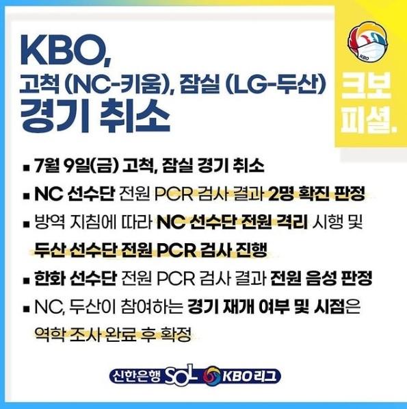 NC 다이노스 선수단 확진에 따른 9일 프로야구 경기 취소를 알리는 KBO 트위터 이미지