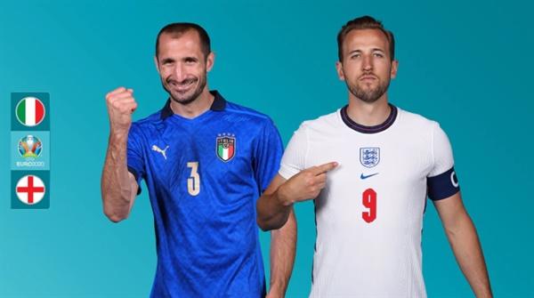 잉글랜드와 이탈리아의 결승전을 예고하는 유로 2020 공식 홈페이지 이미지