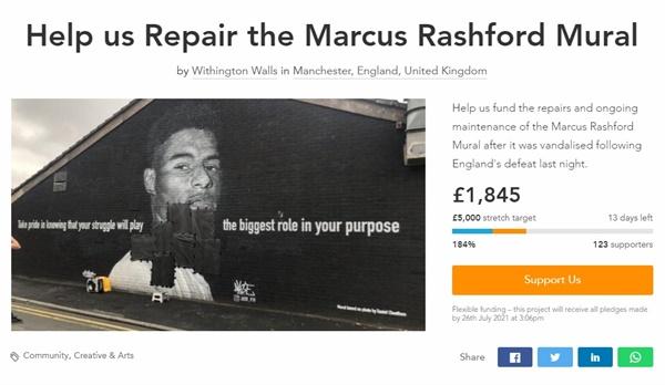 잉글랜드 대표팀 마커스 래시포드의 훼손된 벽화를 복원학 위한 온라인 모금 페이지 갈무리.