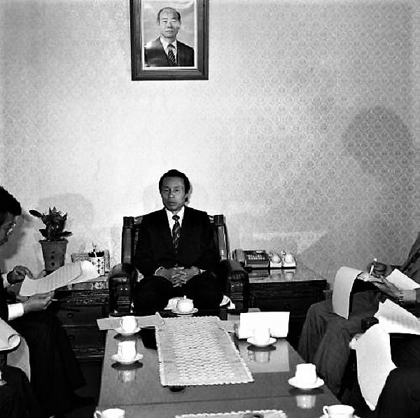 1984년 영화법 개정과 관련해 기자회견을 하고 있는 이진희 문화공보부 장관