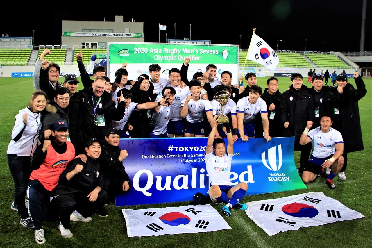 지난 2019년 11월 인천에서 진행된 럭비 올림픽 지역예선에서 올림픽 출전권을 따냈던 대한민국 선수단.