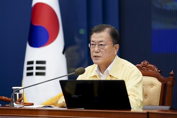 문재인 대통령이 지난 20일 청와대에서 열린 제31회 국무회의에서 발언하고 있다.