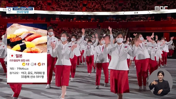 MBC 도쿄올림픽 개회식 중계 중 한 장면.