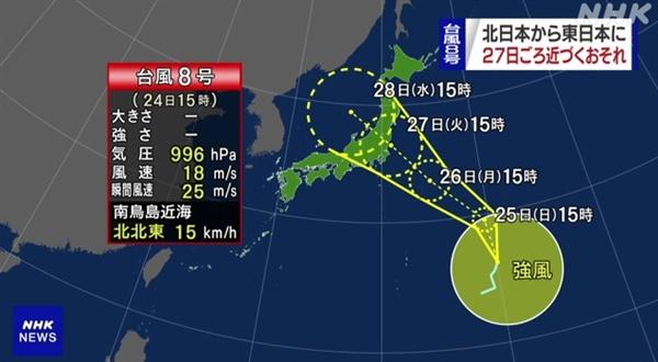 도쿄올림픽 기간 8호 태풍 '네파탁'의 일본 수도권 상륙을 예보하는 NHK 갈무리.