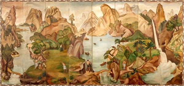 백남순(1904~1994) I '낙원' 캔버스에 유채(접을 수 있는 8폭 병품) 173×372cm 1936년경