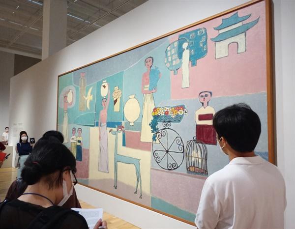 김환기(1913~1974) I '여인들과 항아리' 캔버스에 유채 281.5×567cm 1950년대 ⓒ 환기미술관
