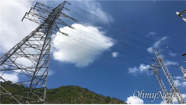 영풍 석포제련소가 보유하고 있는 특고압송전선로.