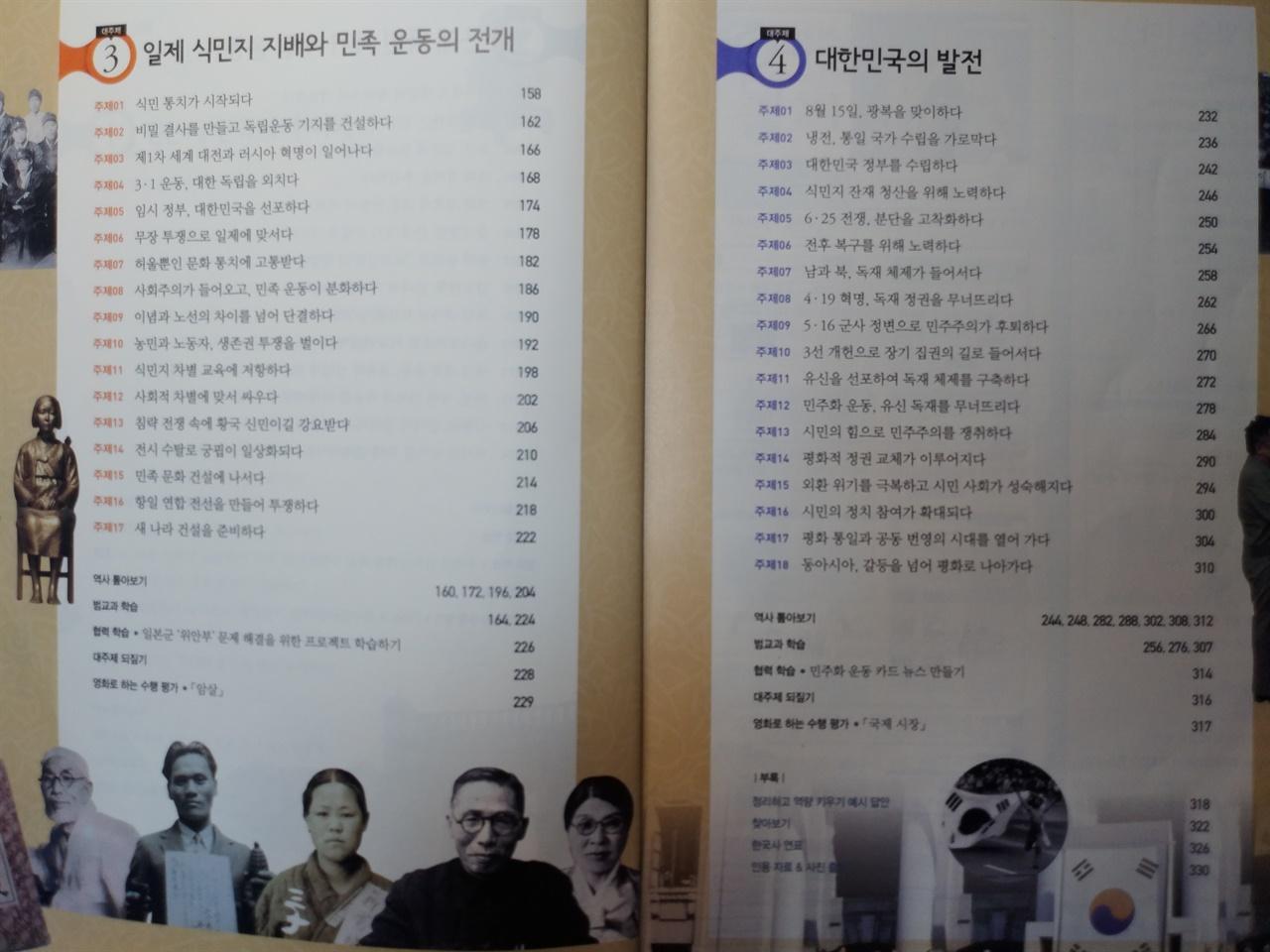 2015 개정 교육과정으로 개편된 현행 고등학교 한국사 교과서의 목차. 개항 이전의 전근대사는 전체 분량으로 치면 1/4에 불과하다.