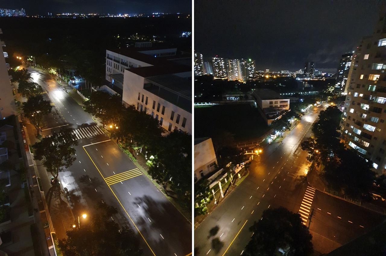 저녁 6시 이후 통행금지가 시행되고 있는 호치민의 거리 풍경