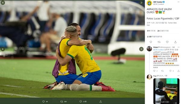 브라질 대표팀 브라질이 2020 도쿄올림픽 축구 결승전에서 스페인을 물리치고, 금메달을 획득했다.