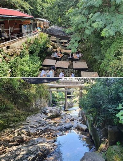 김해 장척계곡의 불법시설물 철거 전과 후.
