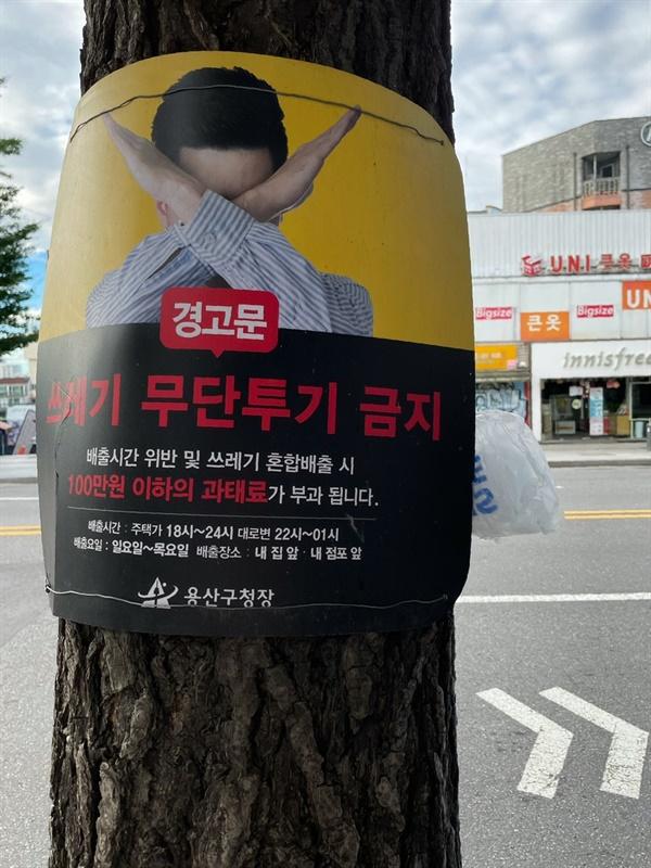 길가에 심어진 나무에 걸린 무단투기 금지 표지판