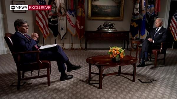 조 바이든 미국 대통령과 ABC 방송의 아프가니스탄 사태 관련 인터뷰 갈무리