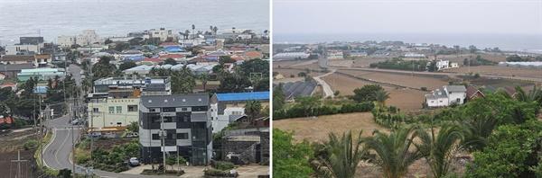 크고 작은 집들이 꽉 들어찬 최근의 대평리 풍경(왼쪽)과 2009년 촬영한 한적한 모습의 대평리(오른쪽)