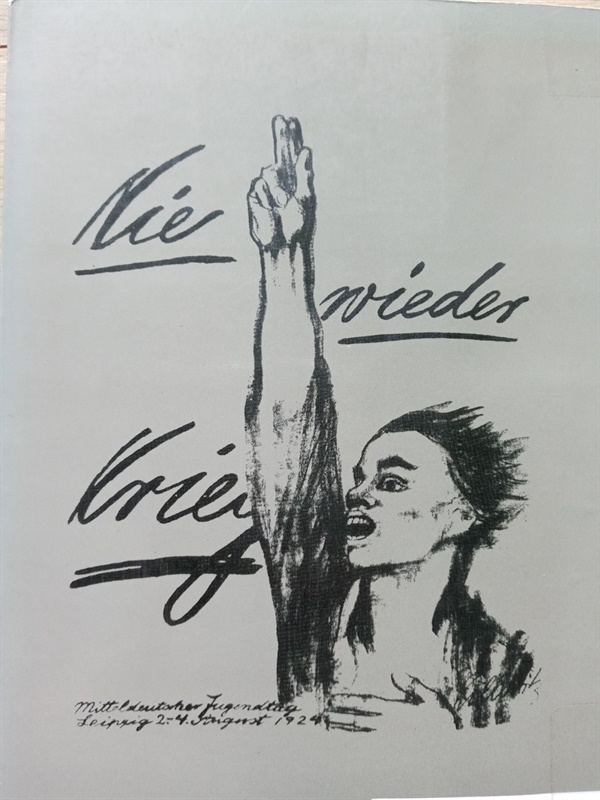 케테 콜비츠의 첫 포스터. 라이프치히에서 열린 청소년대회에 사용(1924년 8월 2~4일). 석판화