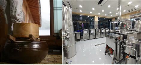 전통 양조와 현대적 양조 손으로 만드는 전통 제조법과 기계를 이용한 현대적 양조