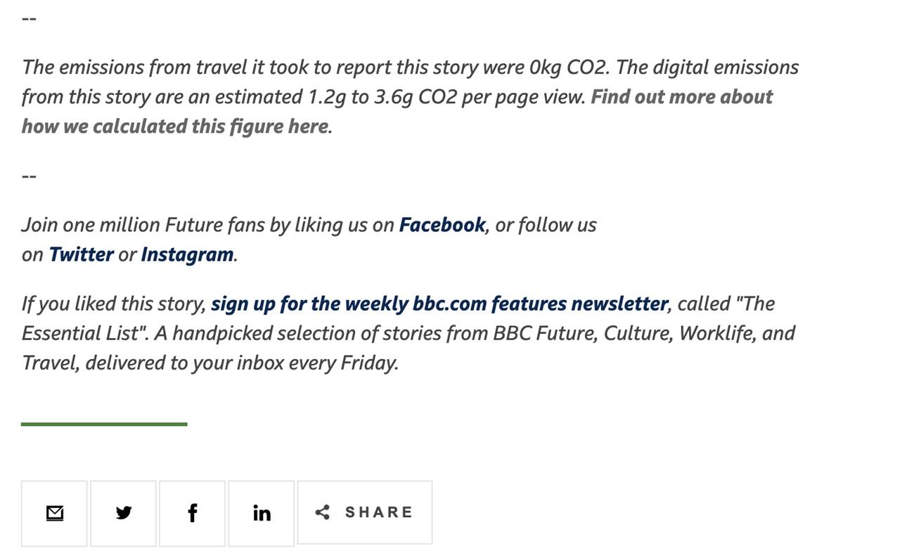 BBC 퓨처 플래닛은 기사마다 하단에 취재·기사 게재 시 발생한 탄소 배출량 정보를 공개하고 있다. BBC 퓨처 플래닛 기사 화면 갈무리.