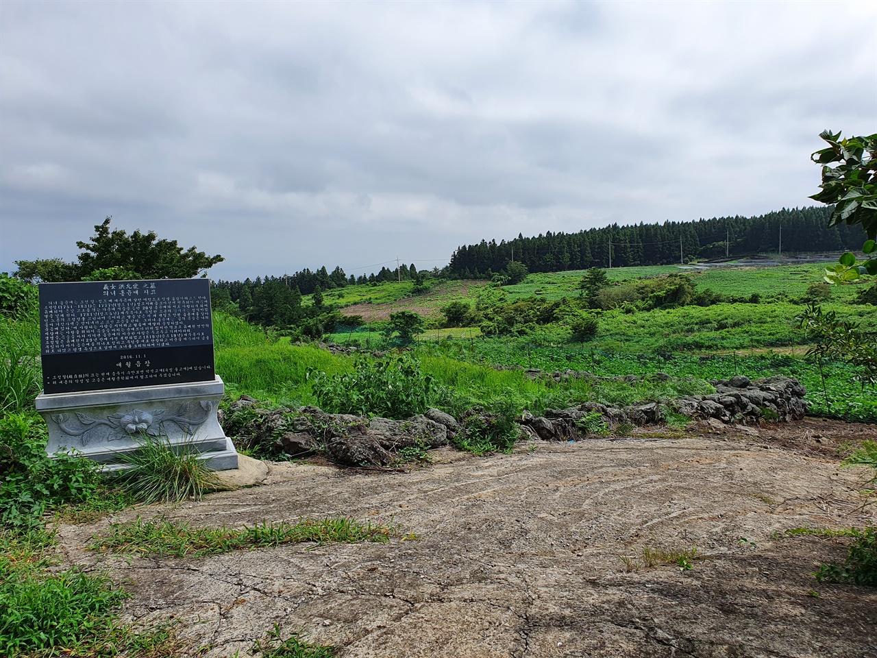 홍윤애 무덤 주위 풍경 애월읍장이 세운 표지석이 놓여 있고, 주변엔 밭이 펼쳐져 있다. 표지석 뒤에 조정철의 추모시가 새겨졌다.