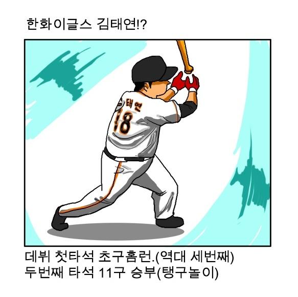 데뷔 첫 타석에서 초구 홈런을 터뜨린 김태연(출처: 야구카툰 야구한판 중)