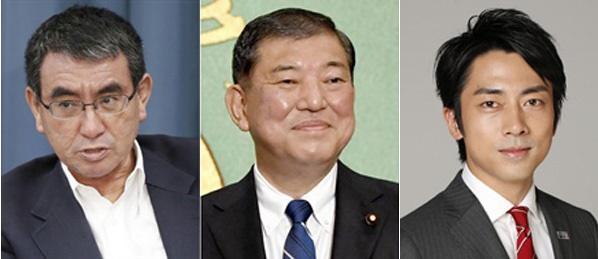 왼쪽부터 고노 다로 행정개혁상, 이시바 시게루 전 간사장, 고이즈미 신지로 환경상