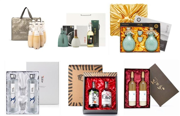 다양한 추석 전통주 선물세트 양조장 마다 특색있는 선물세트로 구성