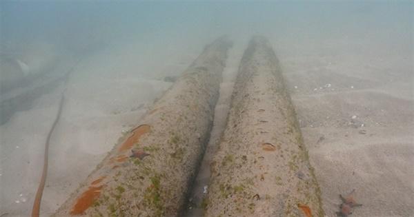 강릉시 안인석탄화력발전소가 건설 중인 안인 바닷속에 방치된 해수인입관들.