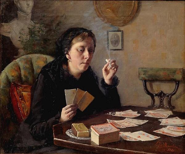 엘린 다니엘손 감보기 <발다 숙모의 오락 Aunt Balda's Pastime> 44x53cm, 캔버스에 유채, 1886