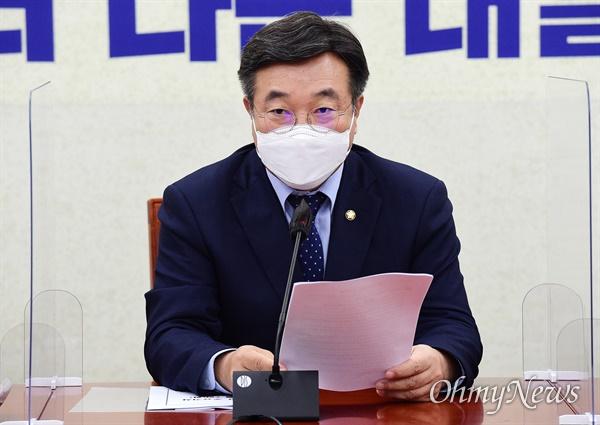 더불어민주당 윤호중 원내대표가 7일 국회에서 열린 원내대책회의에서 발언하고 있다.