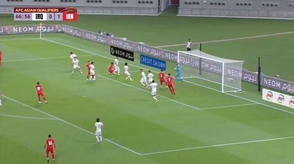 2022 카타르 월드컵 아시아지역 최종 예선 A조 이라크와 이란의 경기 장면.