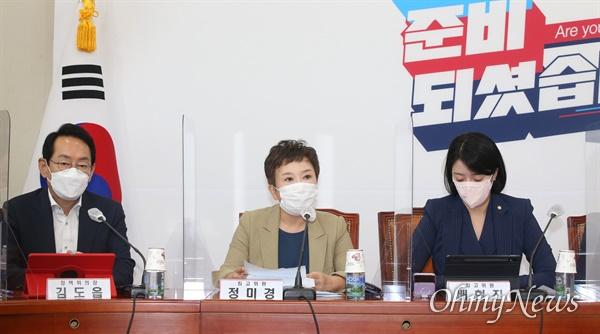 국민의힘 정미경 최고위원이 9일 오전 서울 여의도 국회에서 열린 최고위원회의에서 모두발언을 하고 있다.