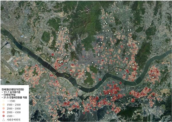 서울시 내 다세대·연립 실거래 및 사회주택 분포 반경 100내에 2021년 5월부터 7월 사이에 5건 이상 다세대/연립주택 전월세 거래가 이뤄진 곳은 총 7개의 사회주택이며, 반경 100m 내 주변시세대비 사회주택 임대료의 비율은 26.9~61.4%에 해당한다.