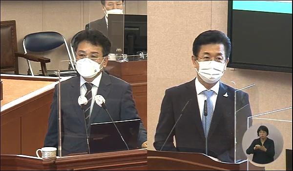 시정질의를 하고 있는 오광영(왼쪽) 대전시의원과 답변을 하고 있는 허태정 대전시장(화면 갈무리).