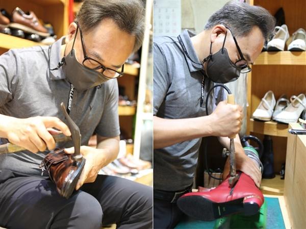 베로나 수제화의 도현동 사장이 작은 다리미로 신발의 겉가죽의 미세한 주름을 펴는 작업(오른쪽)과????? 구두를 완성화기 전 최종적으로 한번 더 망치를 두드리며 점검을 하는 작업을 하고 있다. 망치질을 천 번은 해야 구두가 완성된다.