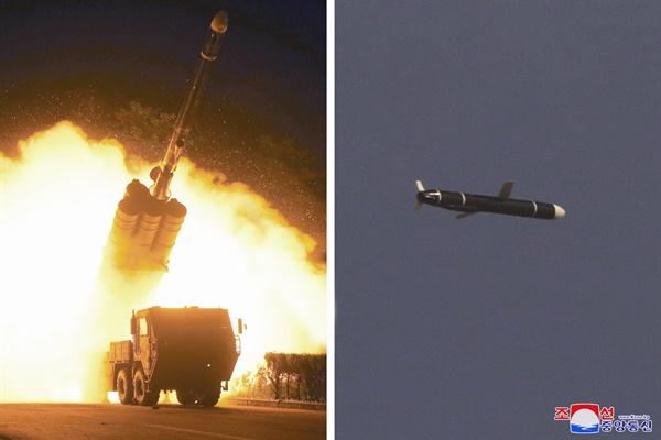 """북한 """"신형 장거리순항미사일 시험발사... 1천500㎞ 표적 명중"""" 북한 국방과학원은 9월 11일과 12일 새로 개발한 신형장거리순항미사일시험발사를 성공적으로 진행했다고 조선중앙통신이 13일 보도했다. 조선중앙통신은 """"발사된 장거리순항미사일들은 우리 국가의 영토와 영해 상공에 설정된 타원 및 8자형 비행궤도를 따라 7천580초를 비행하여 1천500㎞ 계선의 표적을 명중했다""""고 전했다. 2021.9.13"""