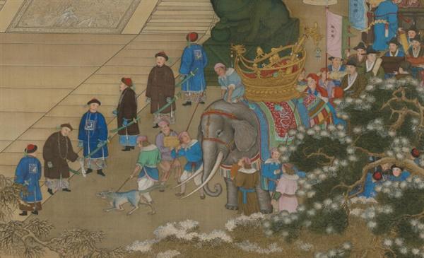 베이징 고궁박물관이 소장하고 있는 만국래조도의 일부분. 코끼리의 뒤에 조선 사신의 모습이 보인다.
