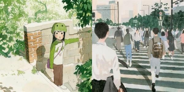 백예린의 신보 '선물' 이미지를 형상화한 일러스트 아트 (성률 작품)