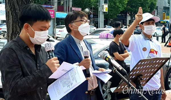 9월 19일 오후 창원역 광장에서 열린 '미얀마 민주주의 연대 29차 일요시위'