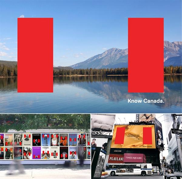 캐나다 국기에서 가져온 두 개의 붉은 줄무늬를 시각적으로 표현해 새로운 이미지를 만들고 캐나다를 제대로 알아보자는 'Know Canada' 캠페인을 기획했다.