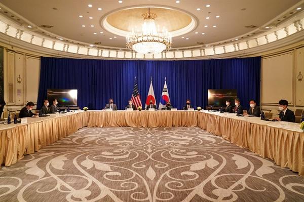 지난 22일 미국 뉴욕에서 한미일 외교장관회담이 열리고 있다.