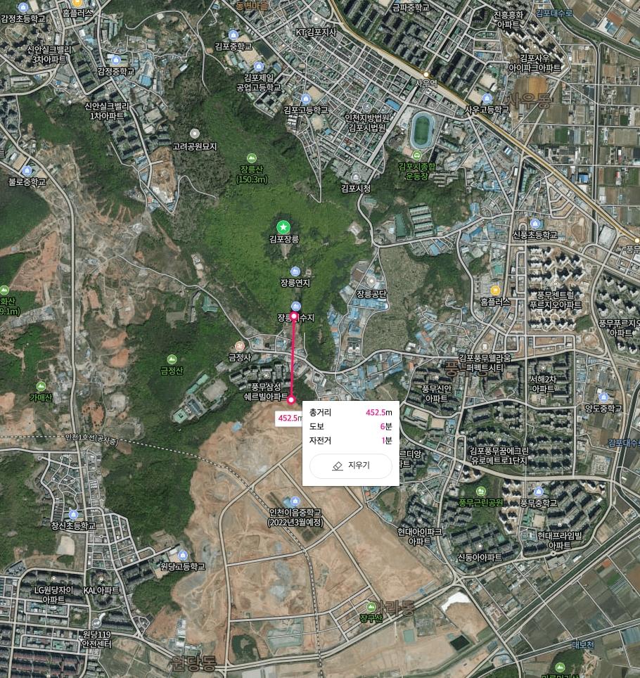 김포 장릉 남단에 위치한 장릉저수지에서 인천 검단 신도시 아파트 공사현장까지 직선으로 452.5m에 불과했다.