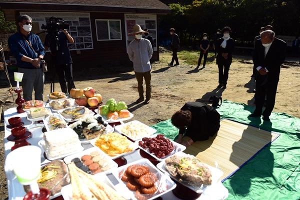 24일 오전 9시 골령골 유해발굴 현장에서 대전산내사건희생자유족회가 주관한 추석맞이 희생자 추모 행사가 열렸다.