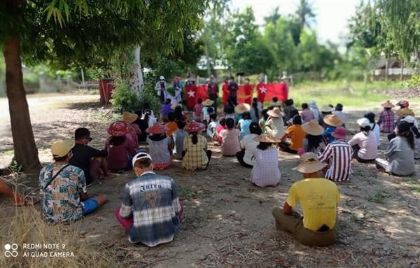 6일 사가잉주 예인마 지역 살린지 마을에서 주민들의 반독재시위