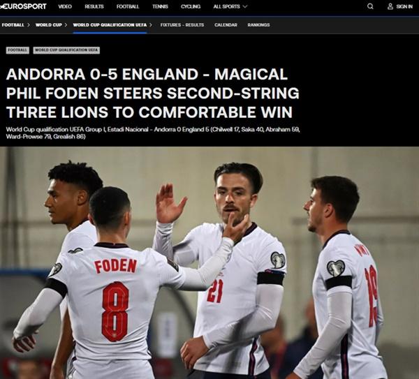 잉글랜드 대표팀 축구종가 잉글랜드가 안도라와의 월드컵 유럽예선에서 5-0 대승을 거두고, 순항을 이어나갔다.