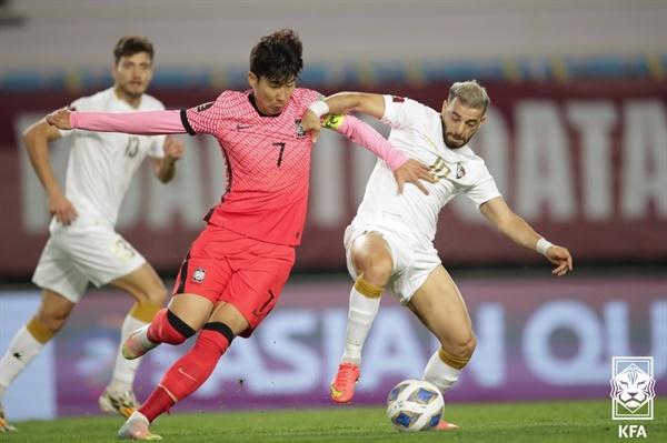 지난 9일 시리아와의 2022 카타르월드컵 아시아 최종예선 경기의 손흥민