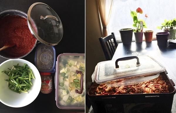 김치 재료들과 김치 완성 모습