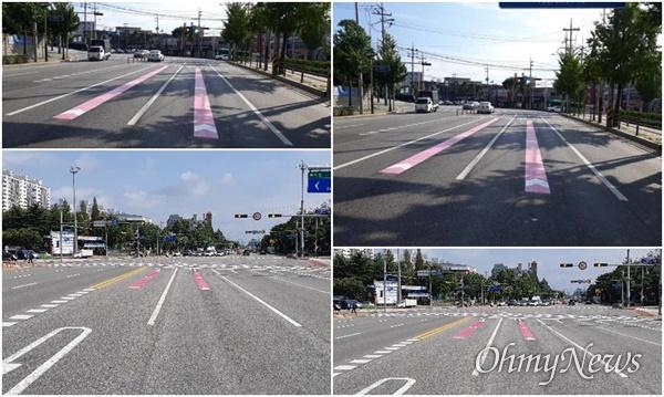 노면 색깔 유도선을 설치한 도로.
