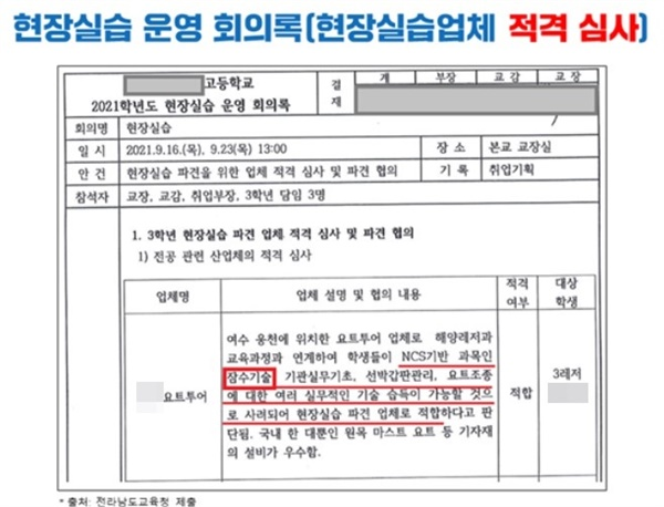 Y특성화고의 지난 9월 16일과 9월 23일 현장실습 운영 회의록.